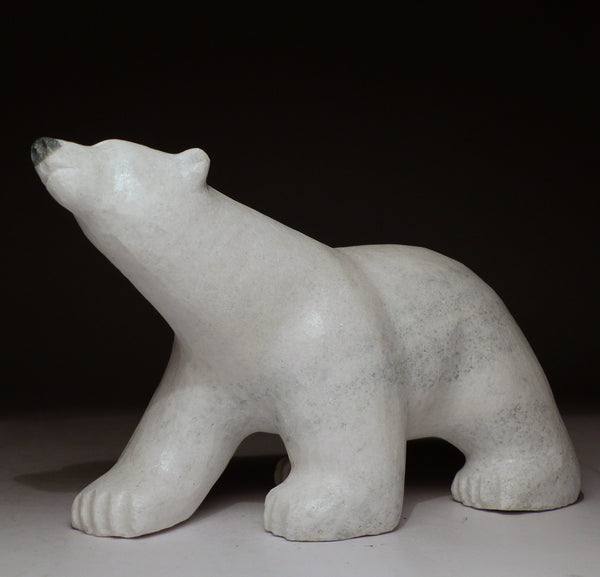 "8"" White Marble Walking Bear by Johnny Manning"