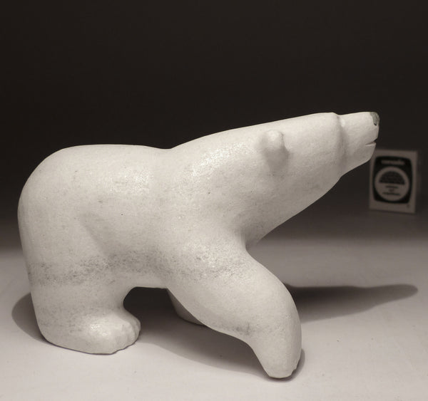 "7"" White Marble Walking Bear by Johnny Manning"