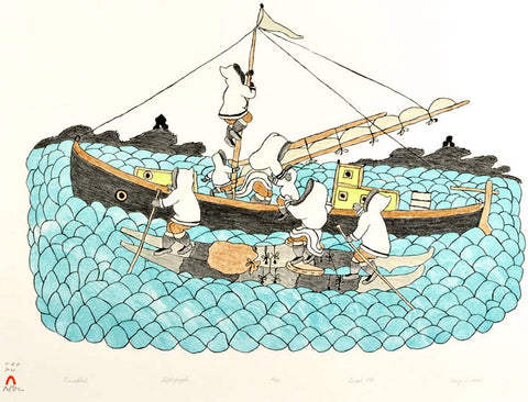 1986 PARNAKTUT (LOADING THE BOAT) by Mary Pudlat
