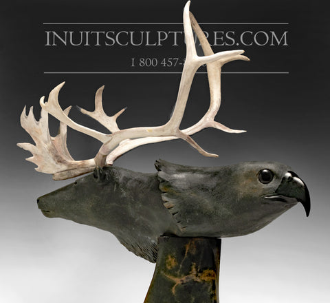 "RESERVED** 28"" Museum Caribou and Hawk by World Famous Paul Quviq Malliki"