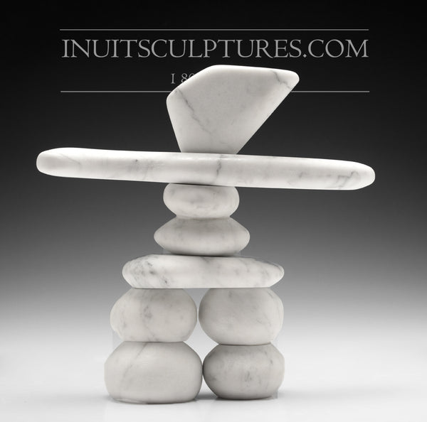 "10"" Carrara Marble Masterful Inukshuk by Paul Bruneau"