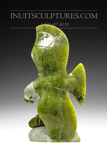 "9"" Apple Green Eagle with Fish by Pitseolak Qimirpik"