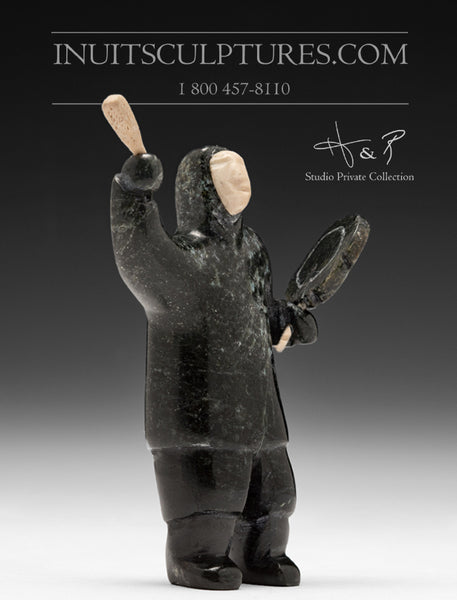 "RESERVED** NFS - 4"" Inuk Drum Dancer by Pitseolak Qimirpik"