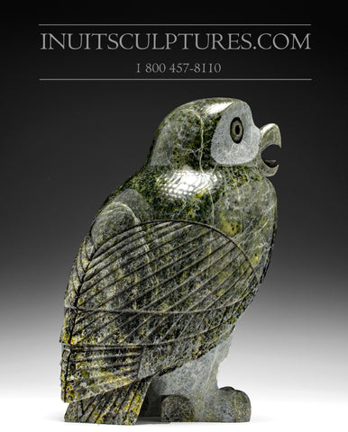 "RESERVED** 12"" Dark Green Owl by Pitseolak Qimirpik"