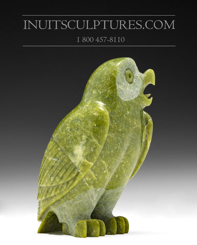 "6"" Green Owl by Pitseolak (Pits) Qimirpik"