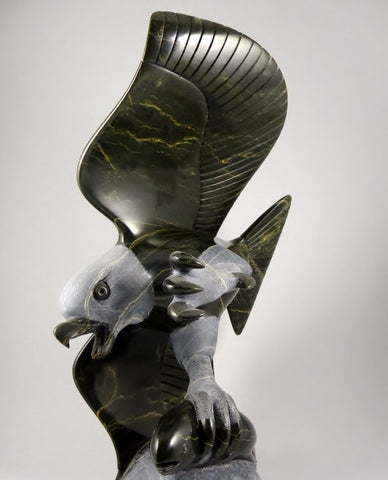 "RESERVED** Masterpiece 16"" Eagle with Fish by Pitseolak (Pits) Qimirpik"