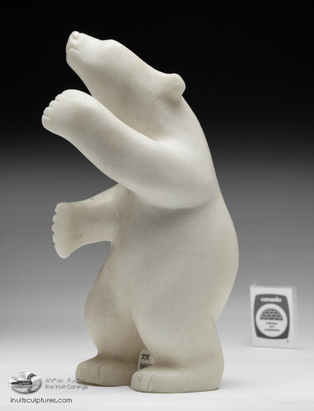 "9"" White Marble Dancing Bear by Quaraq Nungusuitok"