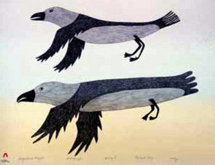 1982 SEAGULL IN FLIGHT by Lucy Qinnuayuak