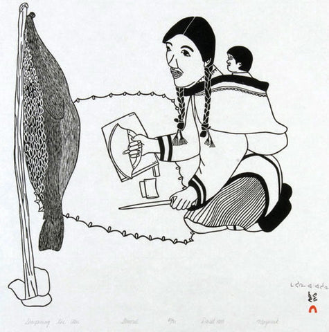 1989 SHARPENING THE ULU by Mayoreak Ashoona