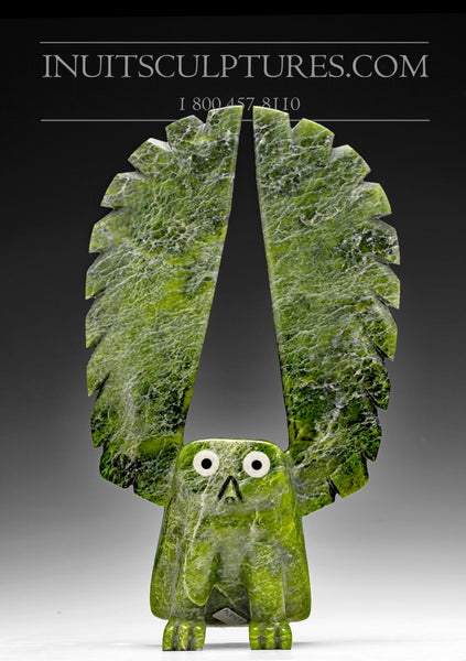 "11"" Green Owl with Inlay Eyes and Beak by Sam Qiatsuk"