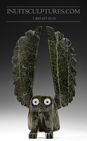 "7"" Owl with Inlay Eyes and Beak by Sam Qiatsuk"