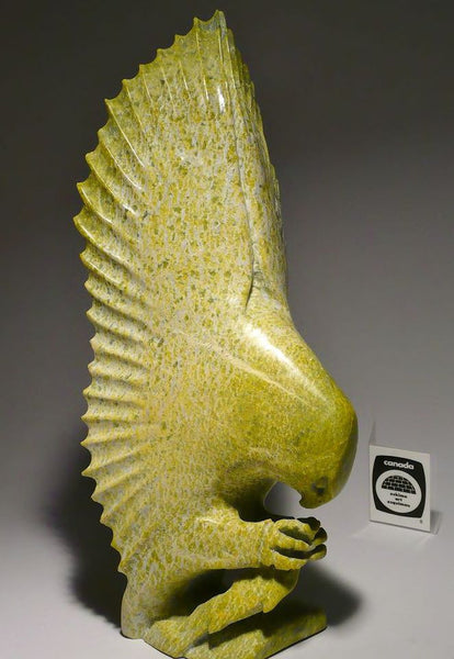 "11.5"" Owl with Fish by Late Sangani Osuitok (1961-2011)"