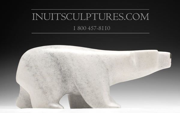 "13"" White Marble Walking Bear by Sapa Ashoona"