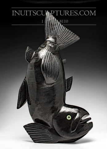 "21"" Black Marble Flying Arctic Char Fish by Toonoo Sharky"