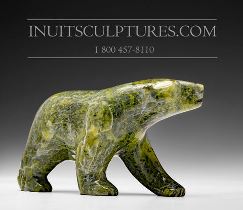"6"" Apple Green Bear by Allan Sheutiapik"