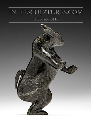 "RESERVED** 5"" Black Dancing Arctic Hare by Pits Qimirpik from Cape Dorset"