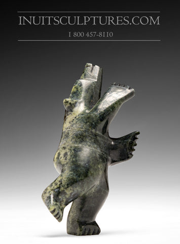 "4.5"" Greenish Dancing Bear by Abraham Simonie"