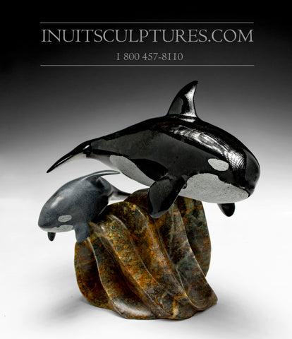 "9"" Mother and Calf Orca (Killer) Whales by Master Derrald Taylor"