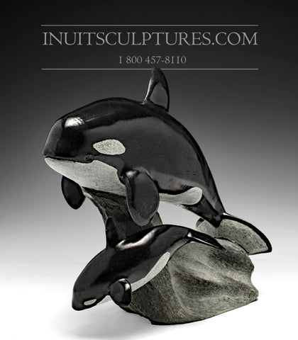 "RESERVED** 13"" Mother and Calf Orca (Killer) Whales by Master Derrald Taylor"