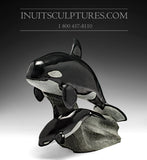 "13"" Mother and Calf Orca (Killer) Whales by Master Derrald Taylor"