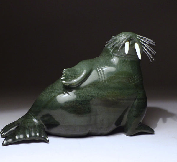 "6.5"" Emerald Green Basking Walrus by Famous Jimmy Iqaluq"