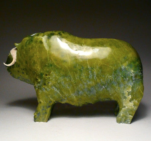 "9.5"" Apple Green Muskox by Joamie Aipeelee"