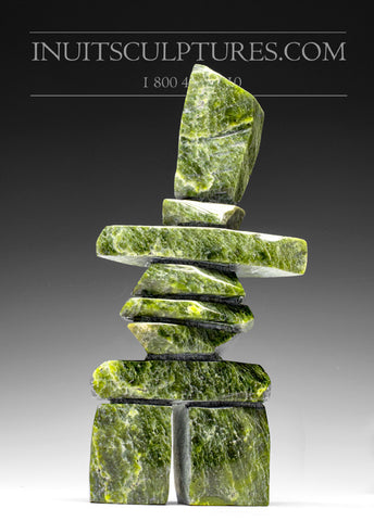 "11"" Apple Green Inukshuk by Roger Oshutsiaq"