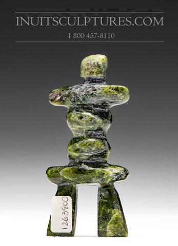 "3"" Green Inukshuk by Ning Shaa"