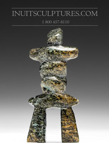 "4"" Green Inukshuk by Ning Shaa"
