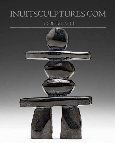 "4.5"" Black Inukshuk by Matt Kingwatsiak"