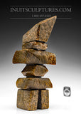 "10"" Brown Inukshuk by Salomonie Shaa"