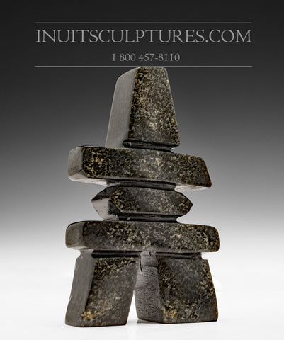 "4"" Dark Inukshuk by Abraham Simeonie"