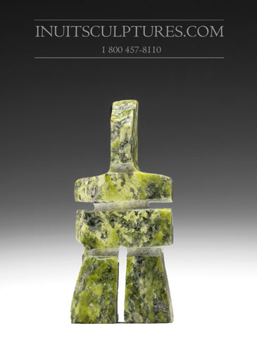 "3"" light green Inukshuk by Anartok Ipeelee"