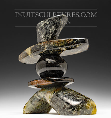 "9"" Multi Colored Inukshuk by Paul Bruneau"