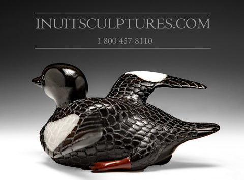 "RESERVED** 8.5"" Exhibition Loon with Red Feet by Jimmy Iqaluq"