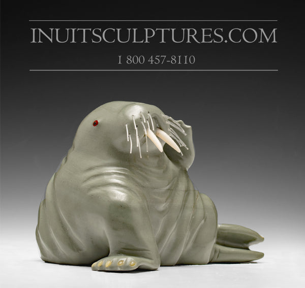 "7"" Pale Green Walrus by Famous Jimmy Iqaluq"