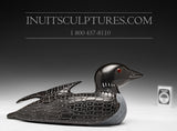 "9"" Black Loon with Inlay Eyes by Jimmy Iqaluq"