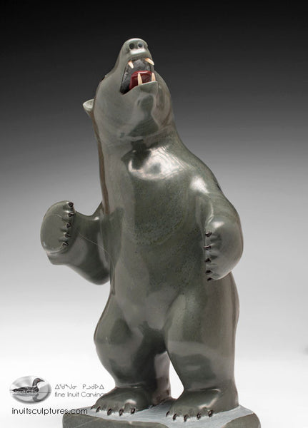 "9"" Bear with Inlay Claws and teeth Famous Jimmy Iqaluq"