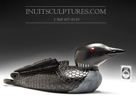 "13"" Black Loon with a Baby by Jimmy Iqaluq"
