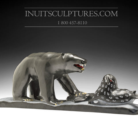 "15"" Bear & Seal Scene by Famous Jimmy Iqaluq"