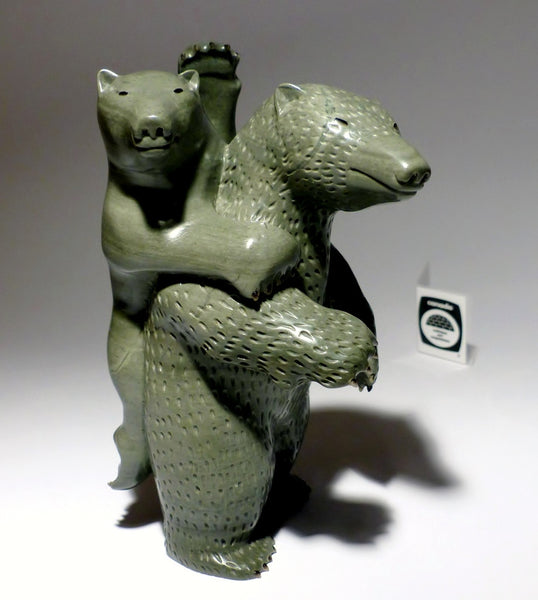 "8.25"" Mother Bear with Fur, Claws & Cub by Famous Jimmy Iqaluq"