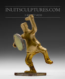 "4"" Bronze Drum Dancer by Johnny Kadlutsiak"