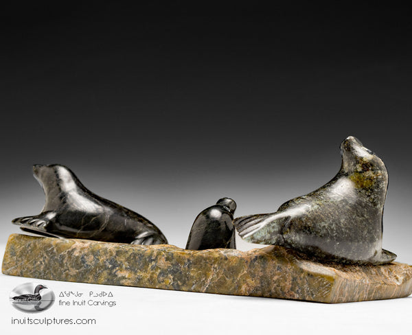"8"" Seal Family by the late Kellypalik Qimirpik"