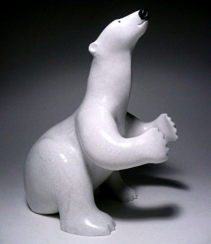 White Sitting Bear by Lew Phillip