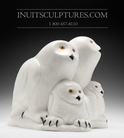 "RESERVED** 16"" Owl Family by Famous Manasie Akpaliapik"