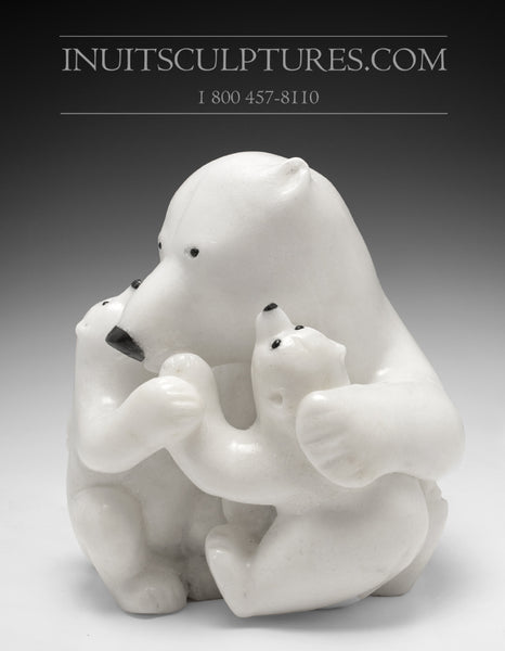 "RESERVED** 12"" Mother bear hugging her cubs by World Famous Manasie Akpaliapik"