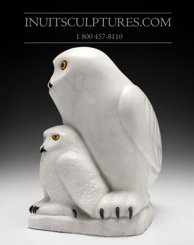 "RESERVED** 15"" Owl and Chick by Famous Manasie Akpaliapik"