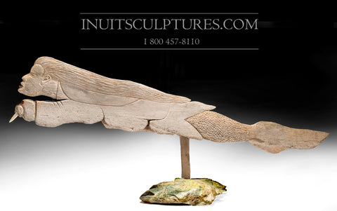 "53"" Sedna riding wind in Baleen Whale Bone by World Famous Manasie Akpaliapik"