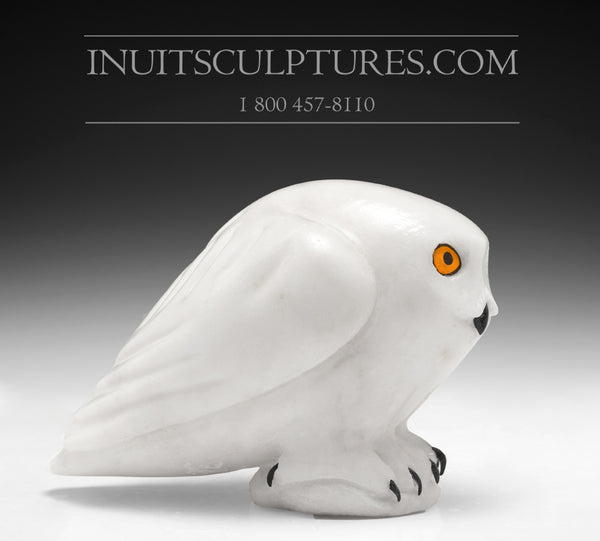 "RESERVED** 7.5"" White Owl by Famous Manasie Akpaliapik"