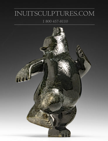 "9"" three way Dark Dancing Bear by Moe Pootoogook"